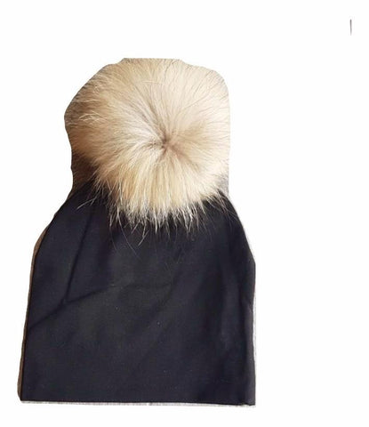 Bari Lynn Black Cotton Baby Hat with Large Brown Fur Pom-pom