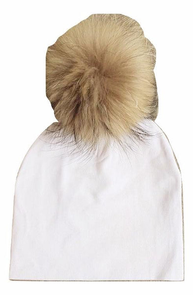Bari Lynn White Cotton Baby Hat with Large Brown Fur Pom-pom