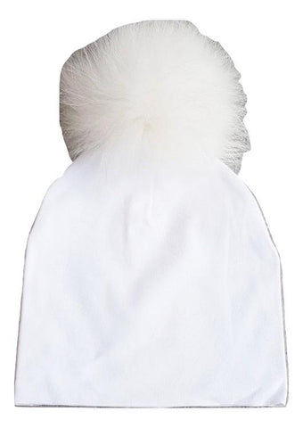 Bari Lynn White Cotton Baby Hat with Large White Fur Pom-pom