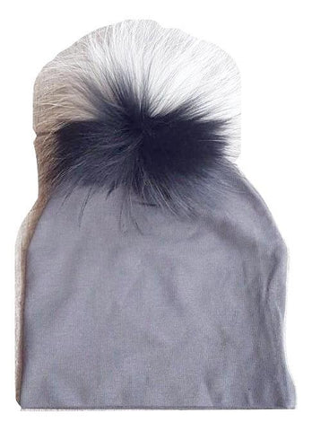 Bari Lynn Charcoal Cotton Baby Hat with Large Multi Color Grey Fur Pom-pom