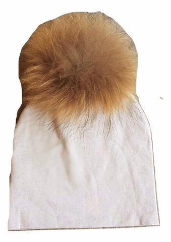 Bari Lynn Soft Grey Cotton Baby Hat with Large Brown Fur Pom-pom