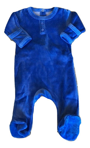 Dream Baby Layette Blue Velour Onesie