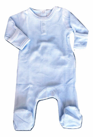 Dream Baby Layette Sky Blue Velour Onesie