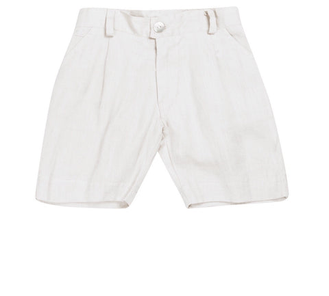 Petit Patch Linen White Shorts
