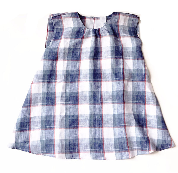 La Bottega di Giorgia Blue Check Sleeveless Dress