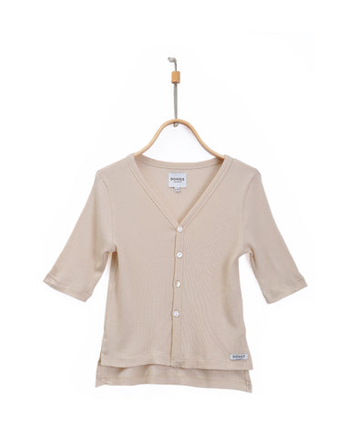 Donsje Amsterdam Beige Cotton Han Cardigan Top
