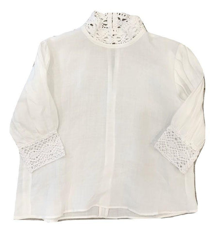 You and Me White Lacey Collared Blouse
