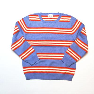 Morley Harbor Sky Blue & Orange Stripe Sweater