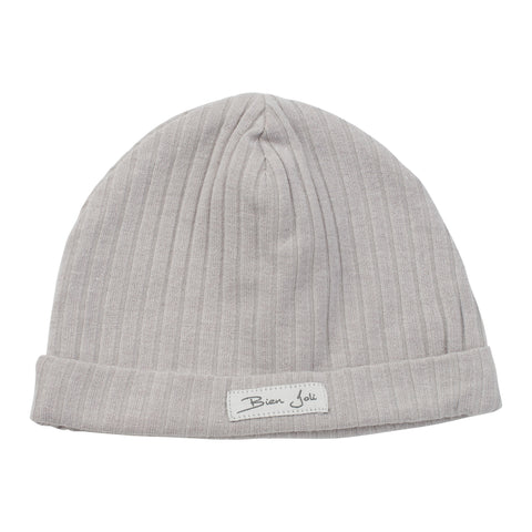 Bien Joli Light Grey Ribbed Beanie