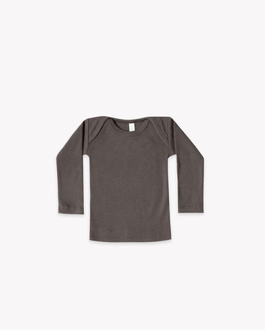 Quincy Mae Coal Ribbed Lap Tee
