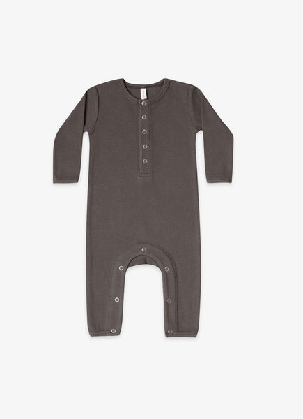 Quincy Mae Coal Ribbed Baby Jumpsuit
