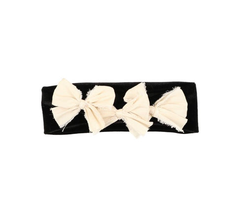 Arbii Ivory Silk on Black Velvet Triple Bow Baby Band