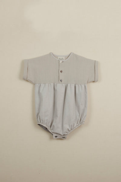 Popelin Beige Short Sleeve Romper