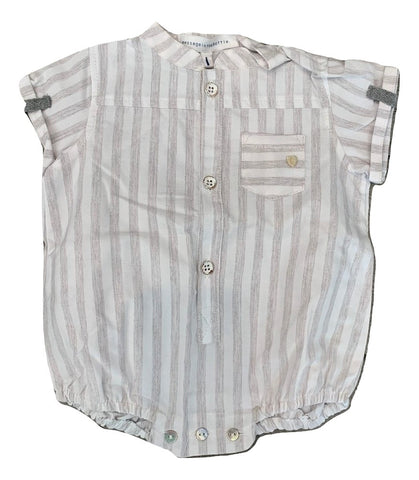 Message In the Bottle Grey Stripe Lazar Romper