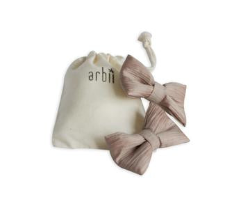 Arbii Crinkle Taupe & Pink Piggy Clips
