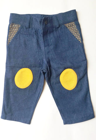 Blune Denim Jean Pants with Yellow Patches