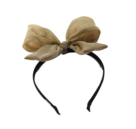 Arbii Gold Metallic Bow Headband
