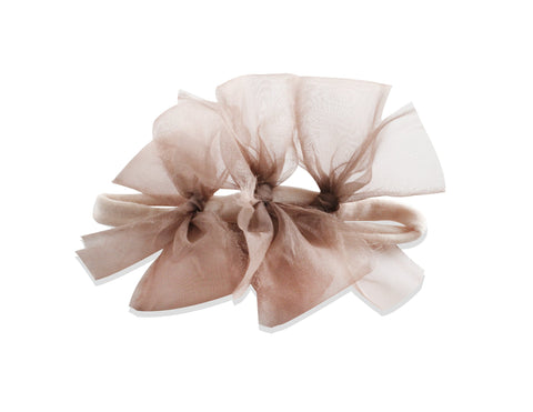 Arbii Sheer Mauve Meringue Triple Bow Baby Band