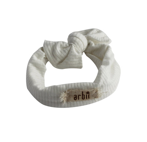Arbii White Ribbed Bow Turban Band