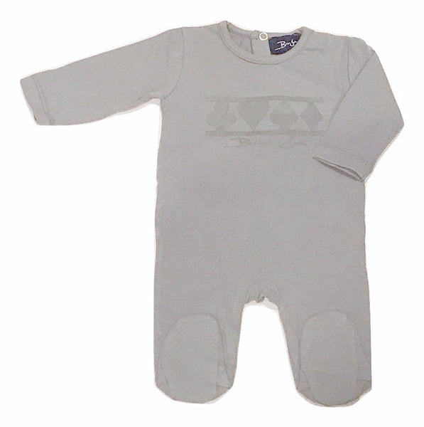 Bien Joli Light Grey Baby Cards Onesie