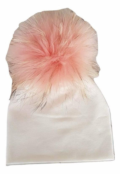 Bari Lynn Ivory Cotton Baby Hat with Large Pink Fur Pom-pom