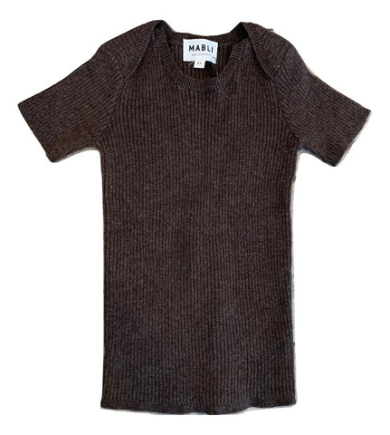 Mabli Cocoa Tesni Skinny Ribbed Short Sleeve Top