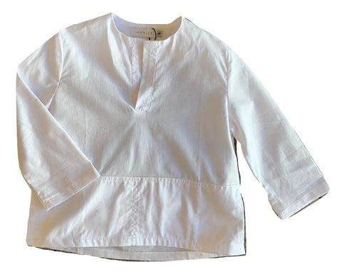 Annice White Cotton Linen Shirt with Side Pockets