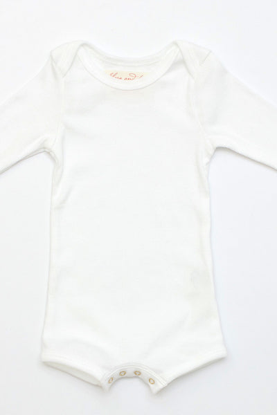 Flora and Henri Long Sleeve Onesie With Snaps White