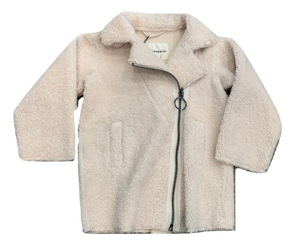 Little Eleven Paris Ivory Shearling Coat