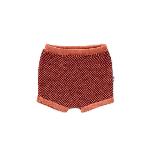 Oeuf Apricot & Burgundy Knit Shorts