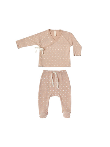 Quincy Mae Petal Heart Kimono Top + Footed Pant Set