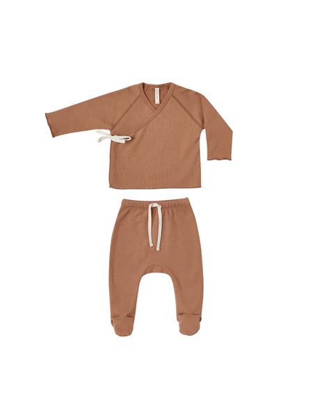 Quincy Mae Rust Kimono Top + Footed Pant Set