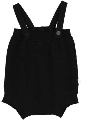 Mini Sibling Black Trcicot Romper with Suspenders