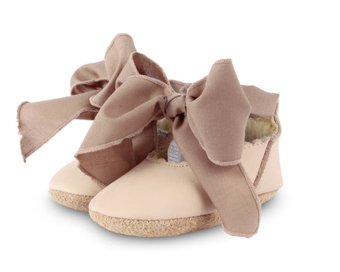 Donsje Amsterdam Powder Nubuck + Mocha Cotton Lieve Baby Shoes