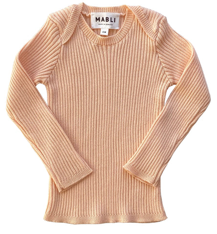 Mabli Peach Tesni Skinny Ribbed Long Sleeve Top