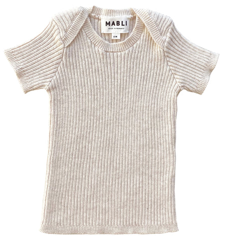 Mabli Parchment Tesni Skinny Ribbed Short Sleeve Top