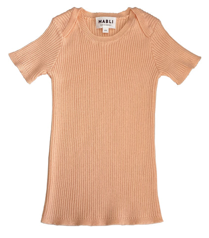 Mabli Peach Tesni Skinny Ribbed Short Sleeve Top