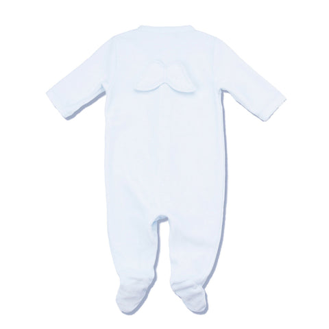 Marie Chantal Blue Velour Angel Wings Onesie