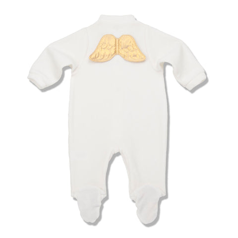 Marie Chantal Cream Velour Gold Angel Wing Onesie