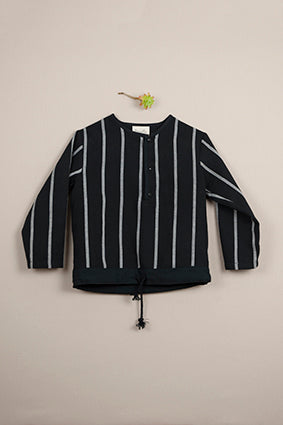 Popelin Black And Grey Striped Shirt