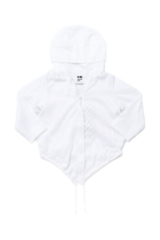 Omamimini White Hooded Raincoat