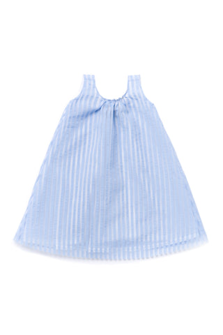 Omamimini Blue Striped Organza Tent Dress
