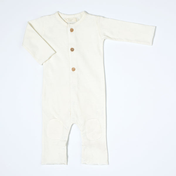 Nixnut Off White Button Onesie