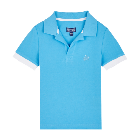 Vilebrequin Blue Solid Pique Polo Shirt