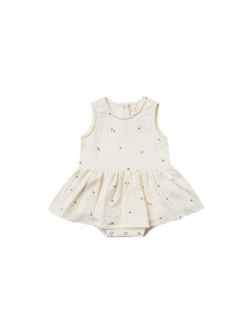 Quincy Mae Ivory Skirted Tank Onesie