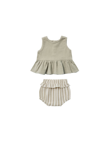 Quincy Mae Sage Stripe Sleeveless Peplum Set