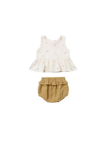 Quincy Mae Ivory Gold Sleeveless Peplum Set