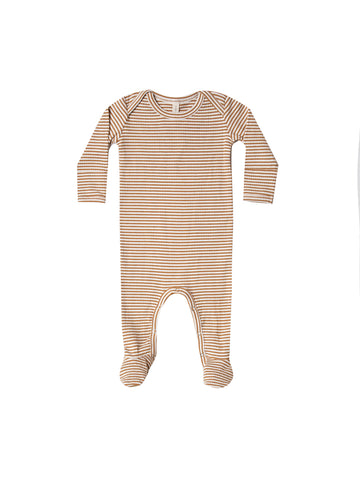 Quincy Mae Walnut Stripe Ribbed Footie