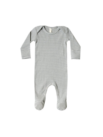 Quincy Mae Eucalyptus Stripe Ribbed Footie