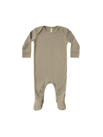 Quincy Mae Olive Ribbed Footie